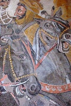 Mosaic of the Battle of Issus from the House of the Faun in Pompeii 1st century. (Detail of Darius III)