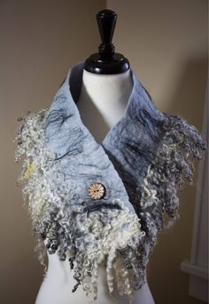 Excited to share the latest addition to my #etsy shop: Gotland Wensleydale Sheep Merino Wool Cowl Collar Scarf #fiberart #art #textileart #scarf #collar #cowl #curlylocks #woolysquirrel #wearableart