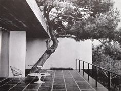 French painter Pierre Soulages' Mediterranean home appears as monochromatic as the all-black canvases he's known for, and features pieces by Franco Albini, Eero Saarinen and Harry Bertoia. Landscape Architecture, Interior Architecture, Interior And Exterior, Vintage Architecture, Arch Interior, Architecture Board, Wire Chair, Vintage Space, Trendy Home