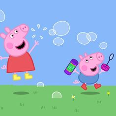 Peppa and George blowing bubbles Peppa Pig Funny, Peppa Pig Memes, Peppa Pig Gratis, Peppa Pig Y George, Invitacion Peppa Pig, Pippa Pig, Peppa Pig Wallpaper, Peppa Pig Family, Funny Iphone Wallpaper
