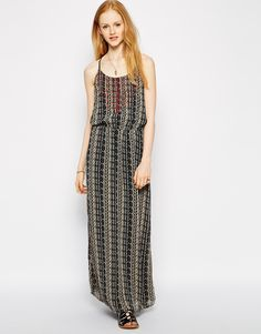 """Maxi dress by Vero Moda Lightweight, semi-sheer chiffon Scoop neckline Embroidered bodice Adjustable straps Racer back Elasticated waist Fully lined Regular fit - true to size Machine wash 100% Polyester Our model wears a UK S/EU S/US XS and is 170cm/5'7"""" tall"""