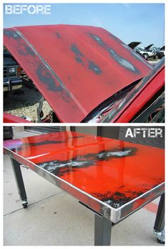 Recycle Car Hood Into Table