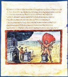 """Virgilio Vaticano: libro II dell'Eneide: """"Laocoonte e i suoi figli sono assaliti dai serpenti usciti dal mare""""."""