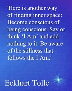 "Here is another way of finding inner space : become conscious of being conscious. Say or think ""Im Am"" and add nothing to it. Be aware of the stillness that follows the I Am."
