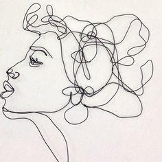 Kuss Profil – Draht Wandkunst – Frau – Porträt – Wand-Skulptur - Everything About Charcoal Drawing and Sculpture Sculptures Sur Fil, Wall Sculptures, Sculpture Art, Sculpture Portrait, Sculpture Projects, Female Portrait, Female Art, Woman Portrait, Wire Wall Art