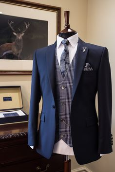 Slim fit navy suit | blue check waistcoat | groom wedding suit | groom & groomsmen | tailored suit