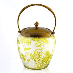 Antique French Baccarat crystal glass cookie jar, cameo cut, etched chrysanthemum from The Box Emporium on Ruby Lane