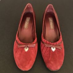 Brighton suede red heels! Gorgeous Brighton red suede heels from the Zora Collection! Worn a couple of times. Brighton Shoes Heels