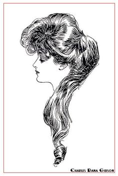 Gibson Girl. Charles Dana Gibson's illustration, The Eternal Question. Supposedly Evelyn Nesbit, whom Gibson thought was the perfect beauty of the day.