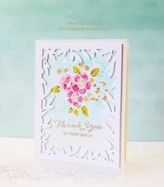 Joni Andaya for WPlus9 featuring Botanical Bunch, Hand Lettered Thanks, Fanciful Feathers stamp sets, and Foliage Frame die set.
