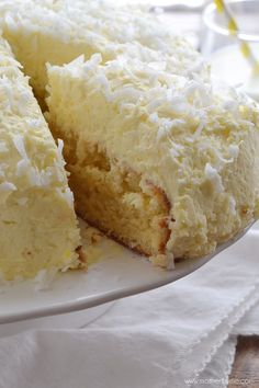 Coconut Cream Cake with Coconut Cream Frosting Recipe ~ A little slice of heaven!