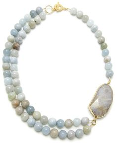 Janna Conner Blue Lace Agate and Aquamarine Necklace