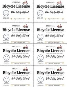 Free printable bike safety license to teach kids bicycle safety through play. Fun pretend play driver's license cards for kids. Safety Games, Safety Week, Safety Kit, Bicycle Safety, Kids Bicycle, Teaching Safety, Teaching Kids, Scout Bike, Safety Crafts