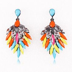 6.5x3.5cm Stylish Colorful Resin Hook Earring with Crystal Women Ladies Jewelry Earrings