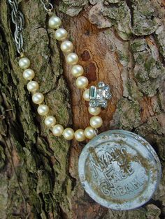 metal detector find salvaged pearl necklace by silentsalvation, $23.00