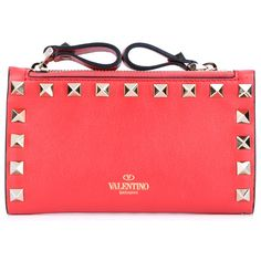 VALENTINO Rockstud Coin Purse ($240) ❤ liked on Polyvore featuring bags, wallets, purses, clutches, wallet, zipper coin purse, red leather wallet, genuine leather wallet, leather zip wallet and red wallet