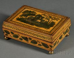 Small Regency Penwork and Paint Decorated Jewelry/Sewing Box | Sale Number 2513, Lot Number 676 | Skinner Auctioneers