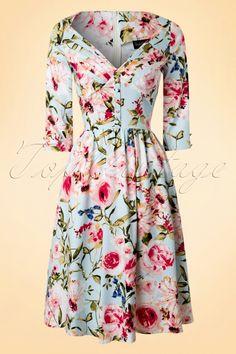 Vixen ~ 50s Ruby Floral Swing Dress in Ice Blue