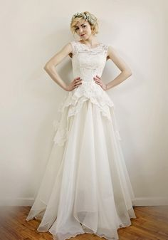 Stunning lace peplum wedding dress from the Leanne Marshall Bridal Collection Peplum Wedding Dress, Wedding Dress Organza, 2016 Wedding Dresses, Bridal Lace, Wedding Dress Styles, Designer Wedding Dresses, Bridal Dresses, Wedding Gowns, Lace Wedding