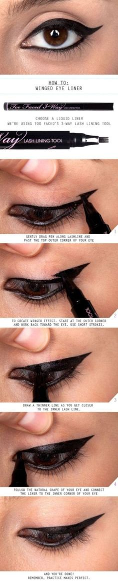"""Ever wanted the """"winged"""" look from your eyeliner? Here is a how to tutorial for winged eyeliner for for simple daytime eye makeup. How To Do Winged Eyeliner, Winged Eyeliner Tutorial, Winged Liner, Apply Eyeliner, Perfect Eyeliner, Eyeliner Wing, How To Shape Eyebrows, Hooded Eyes Eyeliner, Eyeliner Application"""