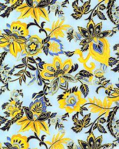 Canterbury - Flowered Vines - Powder Blue/Gold Sunflower Yellow, Marigold, Midnight & French Blue, Bamboo Green, Powder Blue, Gold Metallic
