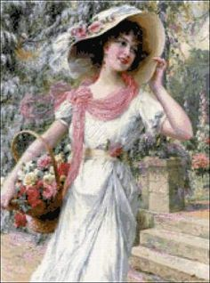 Victorian lady cross stitch kit