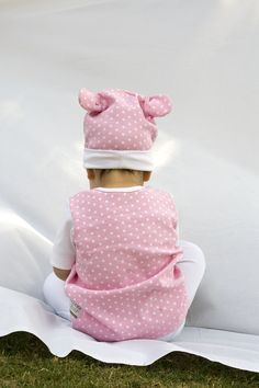 A little Poogy Bear wearing our Pink Polka Dot range!
