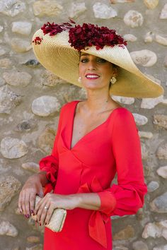 Red rose and straw hat. Perfect for the Kentucky derby.