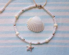 A beautiful mix of shells and white seed beads on waxed cord. can also be worn as a bracelet. Hard wearing waxed cord for beachcombers and mermaids. One size fits all. Beach Bracelets, Ankle Bracelets, Beach Wedding Jewelry, Cute Jewelry, Unique Jewelry, Beach Anklets, Sea Glass Jewelry, Bohemian Jewelry, Handmade Bracelets
