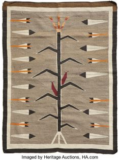 A NAVAJO PICTORIAL RUG c. 1925 tightly woven of native handspun wool, in natural and aniline shades of ivory, - Available at 2009 January American Indian. Native American Rugs, Native American Design, American Indian Art, Native American Beading, Native American Indians, Navajo Weaving, Navajo Rugs, Tapestry Weaving, Southwestern Quilts