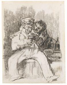 Francisco José de Goya y Lucientes  A FRENCH SOLDIER WITH A DRINKING COMPANION