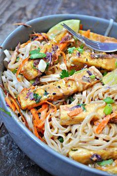 Vegan Orange Peanut Tofu Satay Noodle Salad - Rabbit and Wolves Vegan Noodles Recipes, Vegan Recipes Easy, Tofu Noodles, Crispy Tofu, Thing 1, Noodle Salad, Orange Recipes, Dinner Is Served, Salad Recipes