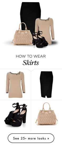 """Double Knit Wool Wrapped Pencil Skirt"" by malathik on Polyvore featuring Donna Karan, Wallis and Miu Miu"