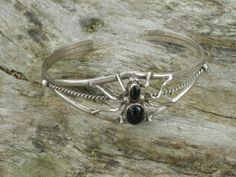Solid Sterling Silver and Black Onyx Spider by AntiquesNXS on Etsy, $125.00