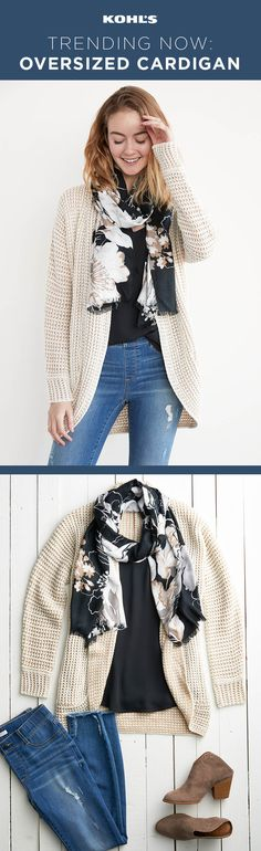 We love looking cute but as far as we're concerned, comfort is king. With this outfit, you won't have to sacrifice either. Shop the cardigan, scarf, top, jeans and booties at Kohl's. #sweater #ootdfashion