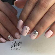 Baby pink with silver natural nails design