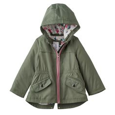 Featuring a wind and water resistant design, this girls' Carter's fleece-lined jacket is perfect for the changing seasons. Baby Gear, Toddler Girl, Military Jacket, Hoods, Rain Jacket, Windbreaker, Raincoat, Jackets, Clothes