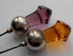 EDWARDIAN STERLING SILVER & AMBER & PURPLE GLASS THISTLE HAT PINS