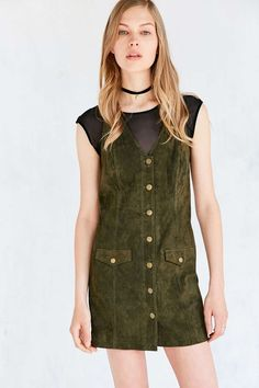 Cooperative Paulina Suede Button-Down Mini Jumper Dress - Urban Outfitters