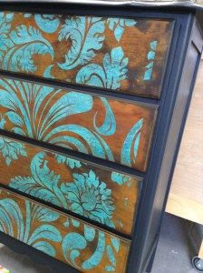 Stenciled Rust and Verdigris Patina How-to | Modern Masters Metal Effects | Project by Interiors to Inspire