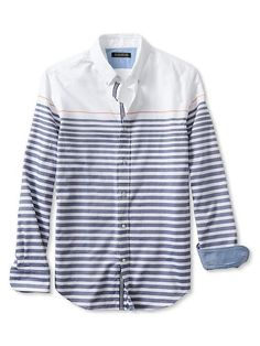 Tailored Slim-Fit Striped Oxford Shirt Product Image
