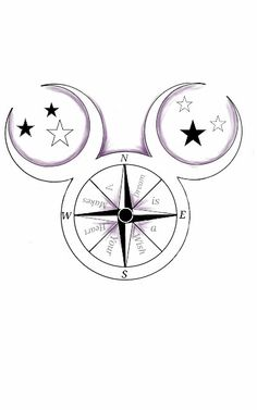 "Walt Disney Mickey Mouse Compass Tattoo dusted in purple. ""A dream is a wish your heart makes"" quote from Cinderella. Moon and Star Ears. Disney Tattoo designed by Autumn Hilpipre 2014"