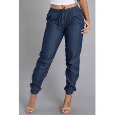 Trendy Elastic Waist Blue Cotton Blends Loose Pants Cotton Blends Solid Drawstring Mid Loose Pants Pants/Capris