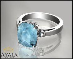 14K White Gold Aquamarine  Ring  Engagement by AyalaDiamonds $1090