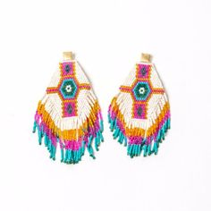 Pink and Turquoise Aztec Earrings