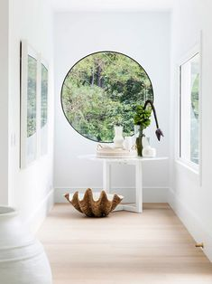 round hallway window Luz Natural, Natural Light, Mint Bathroom, Colorful Bathroom, Curtains Or Shades, Arched Front Door, Laundry Nook, Three Birds Renovations, Warm Kitchen
