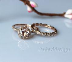 Morganite Engagement Ring Set 7mm Round Cut Morganite Ring Full Eternity Diamond Wedding Ring Set Gemstone Ring Set by RobMdesign on Etsy https://www.etsy.com/listing/198249344/morganite-engagement-ring-set-7mm-round