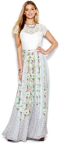French Connection Floral-Print Pleated Maxi Skirt