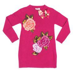 Monnalisa Bimba udsalg børnetøj Fuchsia rød strik med blomster motiver tilbud børnetøj