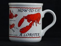 How to Eat a Lobster with 1-8 Illustrated Instructions Print Coffee Mug Cup 10oz